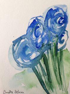 Aquarell Blumen abstrackt Postkarte blau
