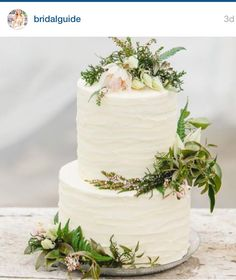 Wedding Cake Tier White Icing Peach And White Flowers Vine