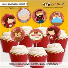 $10.00 Topper para Cupcakes Festa Chapéuzinho Vermelho