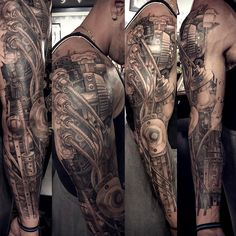 n progress on Evans cover up sleeve ..All free handed with sharpies...#tattoo #tattooartist #tattoos #ink #inked #tattoosleeve #biomech Geometric Henna, 3d Tattoos, Sleeve Tattoos, Tatoos, Mechanic Tattoo, Biomechanical Tattoo, Henna Mandala, Trash Polka, White Ink