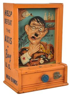 """Poison the Rat - Arcade games such as this were common in America during World War II.  Often, these games could be found in local taverns.  This game was manufactured in 1942 by Groetchen as was called """"Poison the Rat"""".  Hitler's head tilted left and right and the player tried to get a a steel ball into his mouth by moving Hitler's head."""