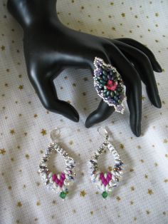 Ring and earrings,superduo beads...