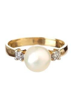 White Freshwater Pearl & Diamond Ring