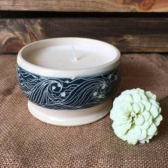 Ceramic Container Candle with Unscented Soy Wax Soy Wax