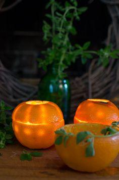 Orange Rind Luminaries - the cutest DIY decorations for a summer party! #orange #rind #luminaries #DIY