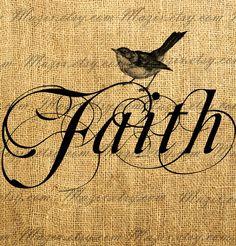 Vintage Bird on a Decorative Word Calligraphy  FAITH  by Mazix, $1.00