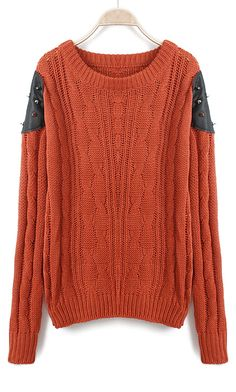 Orange Long Sleeve Contrast PU Leather Rivet Sweater - Sheinside.com