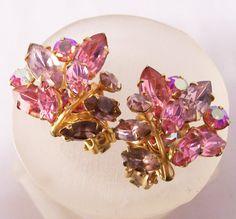 Vintage Beau Jewels Rhinestone Earrings Pink by GretelsTreasures, $17.00