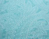 Teal and White Paisley Patterned Fabric - Half Moon Modern by Moda 1/2 Yard