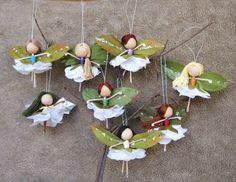 Flower Fairy Dolls, Miniature Fairies, Fairy Ornaments, Ballerina Ornaments, Christmas fairy tree o Christmas Fairy, Christmas Crafts, Christmas Ornaments, Miniature Christmas, Ornaments Image, Wood Ornaments, Handmade Ornaments, Handmade Christmas, Ballerina Ornaments