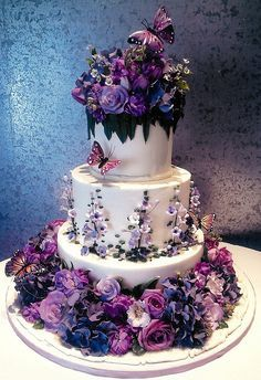 by KC Wedding Cakes Grimsby Vintage Couture wedding cake Purple Floral & Butterfly Fantasy Cake by Rosebud Cakes Rough. Beautiful Wedding Cakes, Gorgeous Cakes, Pretty Cakes, Cute Cakes, Amazing Cakes, Cake Wedding, Gothic Wedding Cake, Purple Wedding Cakes, Gorgeous Gorgeous