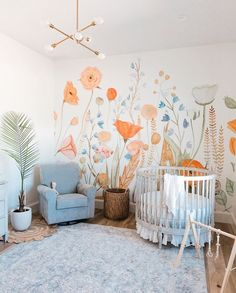 Neutral Nursery Idea With Floral Wall Decor Colorful and simple nursery ideas for your baby or for twins to feel as comfortable and loved as possible. Neutral Nursery Idea With Floral Wall Decor Colorful and simple nursery ideas for your baby or for tw Kids Room Murals, Nursery Wall Murals, Bedroom Murals, Girls Bedroom Mural, Childrens Wall Murals, Murals For Kids, Nursery Wallpaper, Kids Wall Decor, Baby Room Decor