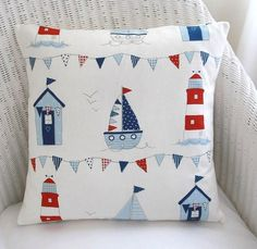 "16"" cushion cover ~ seaside ~ beach hut, boats, bunting, lighthouses 