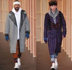 FACETASM by Hiromichi Ochiai 2014-2015 Fall Autumn Winter Mens Runway Looks - Mercedes-Benz Fashion Week Tokyo Japan Catwalk Fashion Show - Denim Jeans Bomber Jacket Varsity Jacket Outerwear Coat Topcoat Overcoat Multi-Panel Parka Down Jacket Puffer Checks Blazer Gloves Sneakers Layers Oversized Stripes Hoodie Ruffles