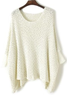 White Batwing Sleeve Asymmetrical Pullover Sweater