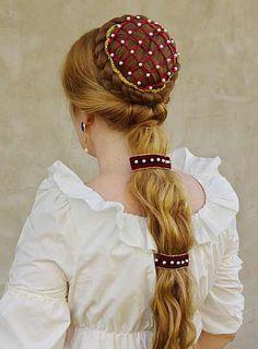 Serie di Borgias ispirato straordinario parrucchino medievale romantico set per tutte le signore nobili il set contiene: 1 chignon con perla snood, velluto 2 capelli perla decorate nastri con clip Se i capelli non sono abbastanza lungo quindi il parrucchino di Emily potrebbe