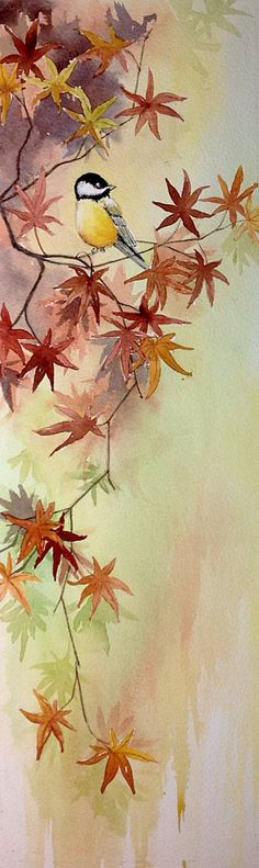 Watercolour of a chickadee in the maples by Judith Jerams