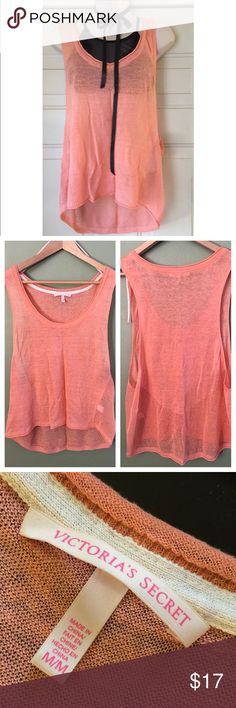 Victoria's Secret Mango Color Top-Size Medium Victoria's Secret Mango color sleeveless mesh top.🍊 Size Medium.🍊 Worn maybe twice-has a small piece of lint on front-(hardly see) but want to point out.🍊 Cute top to wear layering or cover up.🍊 PINK Victoria's Secret Tops
