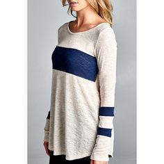 $11.01 Stylish Scoop Collar Long Sleeve Color Block Women's T-Shirt
