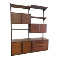 Now Available Is A Gorgeous Mid Century Wall Unit In Near Excellent Vintage Condition Structurally Sound Superb Craftsmanship And Fully Adjustab