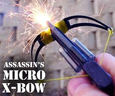 Assassin's Micro Crossbow: fun technical crossbow from popsicle sticks, hair clips, embroidery floss, matches. the video is fun as well as the instructions.