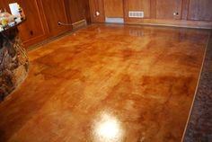 DIY Acid Stain Concrete Floors | Acid Stained Concrete Floor with a pigmented faux finish border in ...