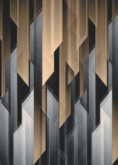 Abstract 17 Art Print by - X-Small Motif Art Deco, Art Deco Design, Wall Patterns, Textures Patterns, Feature Wall Design, Plafond Design, Modelos 3d, Wall Cladding, Facade Design