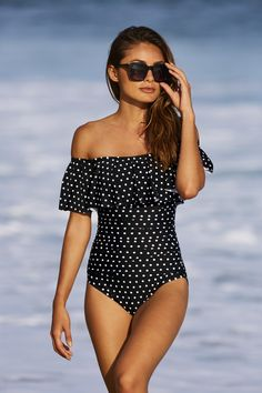 Women's Off The Shoulder Polka Dot One Piece Swimsuit by Boston Proper. Your favorite new swimsuit has arrived. #ruffle #polkadot #swimwear #onepiece