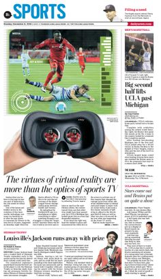 the virtues of virtual reality are more than the optics of sports TV   #News #GraphicDesign #Layout #Sports more at https://www.pinterest.com/rojasmark2/newspaper-designs-by-mark-rojas/