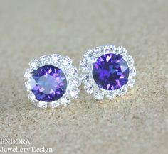 Purple Swarovski crystal earring #bridesmaidearrings by #EndoraJewellery