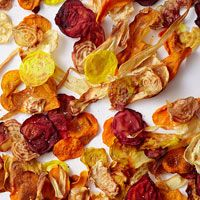 Baked veggie chips. Use your favorite veggies!   Olive oil SPRAY keeps chips from getting over-saturated with oil (which causes them to get soggy).