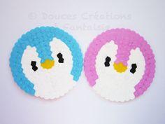 Coaster Penguin set, kawaii animal, 8bit pixel art geek, hama bead perler, handmade, kitchen accessory table