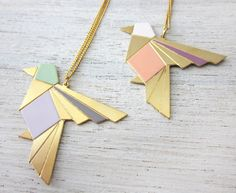 Origami Exotic Bird Necklace in Gold, bird pendant jewelry, holiday gift under 60. $56.00, via Etsy.