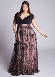 vestidos de festa plus size longo modelo evase com renda