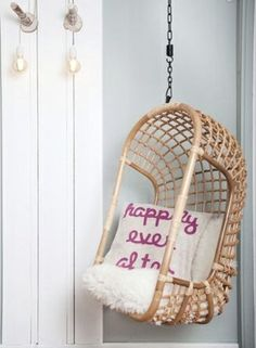 Hanging Chair The Classic Light Rattan. Design by Moodadventures. Suitable for indoor and outdoor, weight capacity 200 kgs. Do you have any questions about this hanging chair? Feel free to email us: info Kids Hanging Chair, Hanging Furniture, Swinging Chair, Hanging Chairs, Furniture Ideas, Swing Chairs, Wicker Furniture, Cow Print Chair, Lounge
