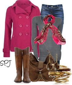 """Pink Peacoat"" by s-p-j on Polyvore"