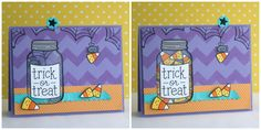 A Lawn Fawn Halloween Slider card by Yainea using Summertime Charm jar, Trick or Treat, Heebie Jeebies and Chevron Backdrops,