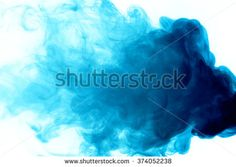 Abstract art. Blue smoke hookah on a white background. Inhalation. The steam generator. The concept of aromatherapy.