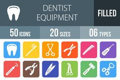 50 Dentist Flat Round Corner Icons by IconBunny on @creativemarket