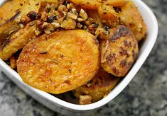 rosemary roasted sweet potatoes with olive oil, garlic, and walnuts Raw Food Recipes, Veggie Recipes, Vegetarian Recipes, Cooking Recipes, Veggie Food, Food Food, Sweet Potato Recipes, Roasted Sweet Potatoes, Vegan Dishes