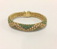 Vintage Signed CINER High Quality Prong Set Emerald Green & Clear Crystal Rhinestones Heavy 18K Gold Plated Bracelet Women's Fine Jewelry EC