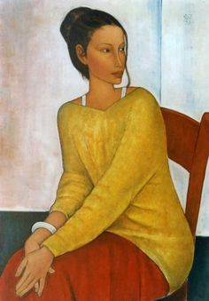 """Roman Zakrzewski """"What we see depends mainly on what we look for."""" ~ Sir John Lubbock (via indigodreams: / aneleh:) L'art Du Portrait, Female Portrait, Painting People, Figure Painting, Painting Gallery, Art Gallery, Amedeo Modigliani, Yellow Art, Face Art"""