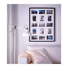 "RIBBA Frame for 15 pictures IKEA Holds 1 picture 23x31"" or 9 pictures 4x6"" and 6 pictures 3 1/2x5""."