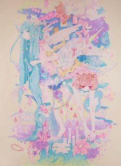✮ ANIME ART ✮ pastel. . .long hair. . .fantasy. . .colorful. . .clouds. . .toys. . .unicorn. . .angel wings. . .stars. . .cute. . .kawaii