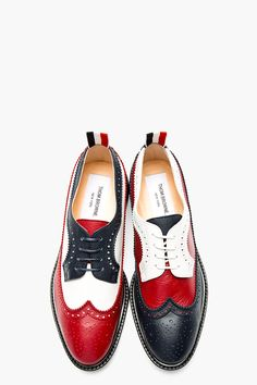 THOM BROWNE Red, White, & Navy Leather Longwing Brogues