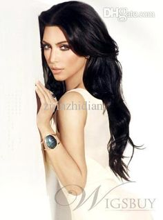 Long Wavy Kim Kardashian Hairstyle Lace Wig 100% Remy Human Hair About 24  Inches Online with  154.56 Piece on Zijinzhidian s Store  06d2392408