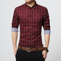 Autumn Fashion Men's Clothes Long Sleeve Slim Fit Shirt Plaid Cotton Casual Plus Size M-5XL