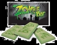 Halloween Gift Ideas, Zombie Chocolate Candy Bar!  A perfect addition to the cupboard of any fan of Halloween!  Be the coolest house in town if you give these away to Trick or Treaters!  Makes a perfect addition to any zombie film fest too!