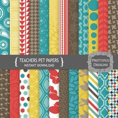 Digital Paper Art Deco Designs Teal Red Yellow Brown - Commercial Use - Teachers Pet (799)