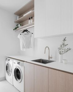 Modern Laundry Rooms, Laundry Room Layouts, Laundry Room Remodel, Laundry Room Organization, Laundry Shelves, Open Shelves, Laundry Cupboard, White Laundry Rooms, Laundry Basket
